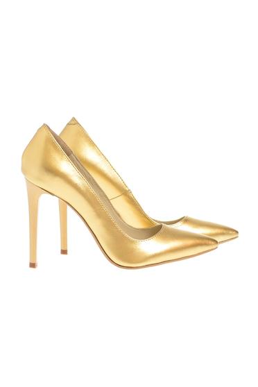 Pantofi stiletto auriu din piele naturala cu toc inalt