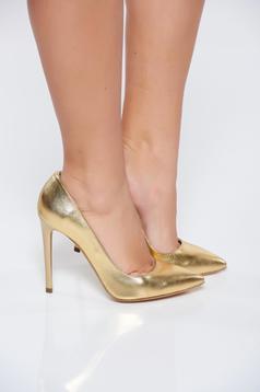 Pantofi stiletto aurii din piele naturala cu toc inalt