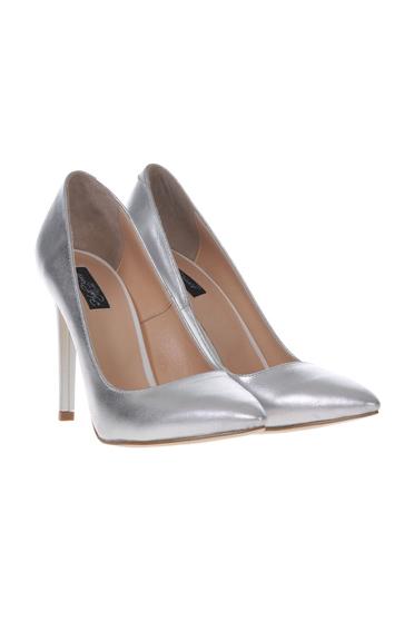 Pantofi stiletto argintiu din piele naturala cu toc inalt