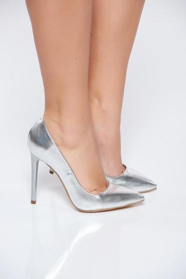 Pantofi stiletto argintii din piele naturala cu toc inalt