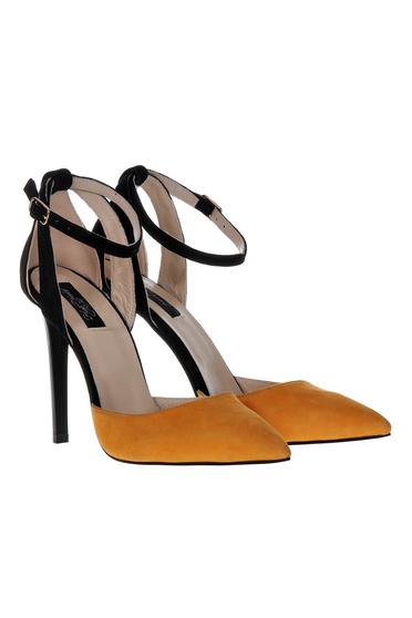 Pantofi stiletto maro din piele naturala elegant cu toc inalt