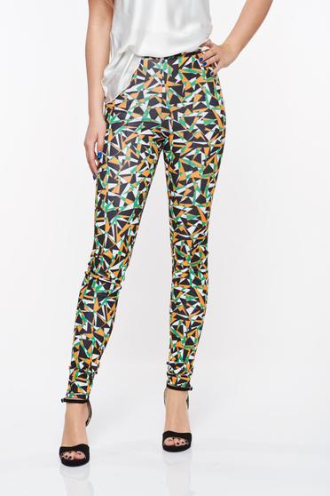 Pantaloni Ana Radu negri casual cu talie medie din scuba cu elastic in talie