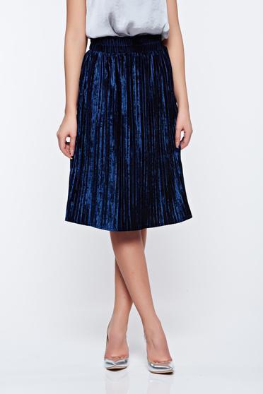 Fusta Artista albastra-inchis din catifea plisata cu elastic in talie