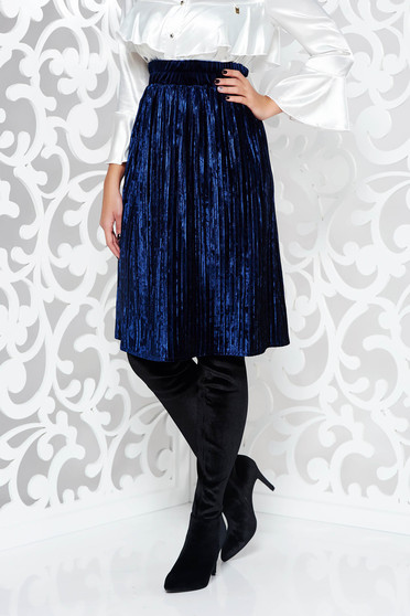 Fusta Artista albastra-inchis eleganta in clos din catifea plisata cu elastic in talie