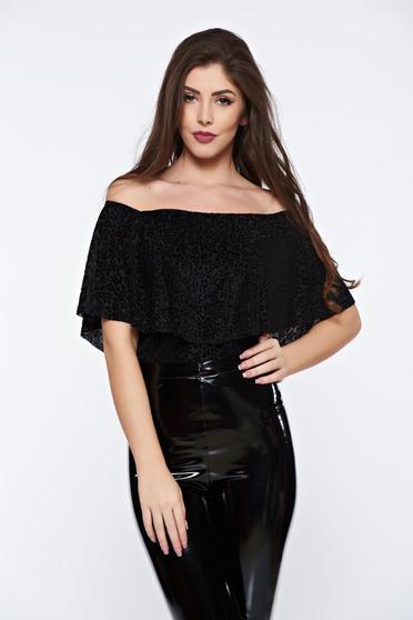 Body PrettyGirl negru elegant din catifea fara maneci