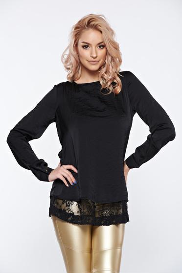 Bluza dama PrettyGirl neagra eleganta cu croi larg din material satinat
