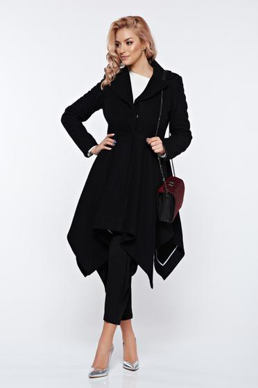 Palton PrettyGirl negru elegant asimetric din stofa captusit pe interior