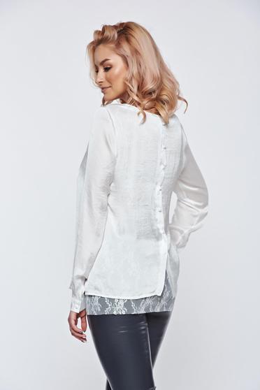 Bluza dama PrettyGirl alba eleganta cu croi larg din material satinat