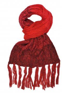 Fular Top Secret visiniu casual tricotat cu franjuri