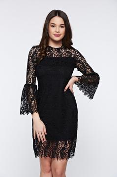 Rochie Top Secret neagra eleganta din dantela cu maneci clopot