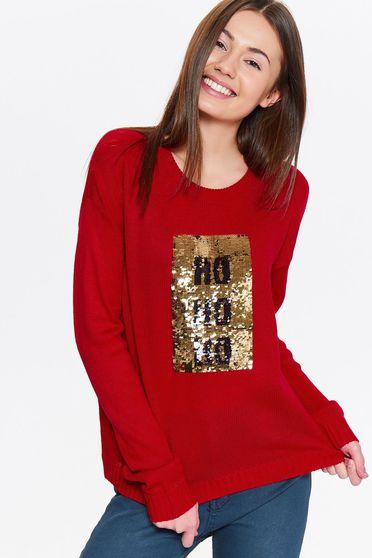Pulover Top Secret rosu casual tricotat cu croi larg cu aplicatii cu paiete
