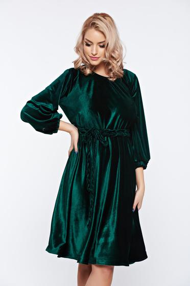 Rochie Artista verde-inchis de ocazie din catifea cu croi larg