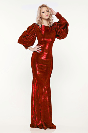 Rochie Artista rosie de seara tip sirena cu maneci bufante