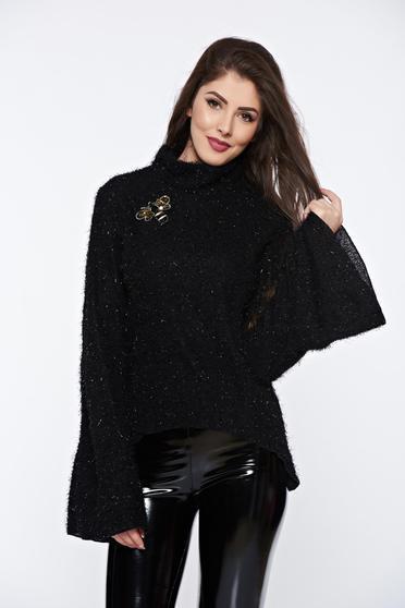 Pulover Ocassion negru casual tricotat cu maneci clopot