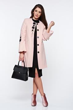 Palton LaDonna rosa elegant drept brodat din lana
