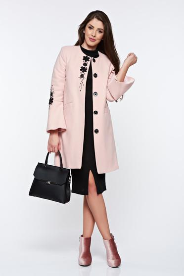 Palton rosa LaDonna elegant drept brodat din lana