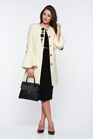 Palton LaDonna nude elegant drept brodat din lana