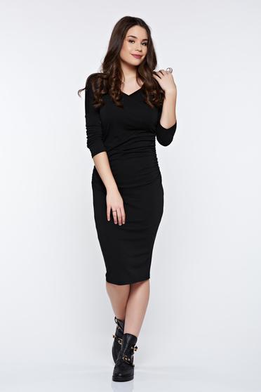 Rochie PrettyGirl neagra eleganta tip creion cu maneci trei-sferturi