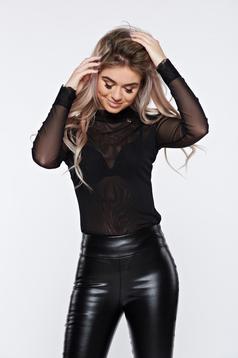Body PrettyGirl negru din material transparent cu aplicatii de dantela
