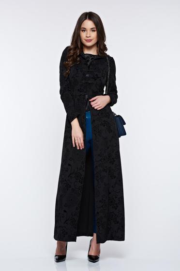 Cardigan PrettyGirl negru lung elegant din jaquard