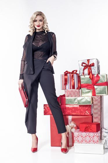Pantaloni PrettyGirl negri eleganti cu talie medie cu buzunare