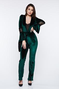 Salopeta PrettyGirl verde eleganta din catifea accesorizata cu cordon