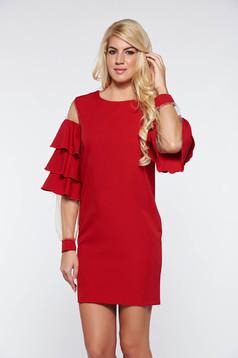 Rochie PrettyGirl rosie de ocazie din material elastic si fin captusita pe interior cu volanase la maneca
