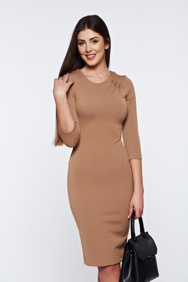 Rochie StarShinerS maro office tip creion din material elastic