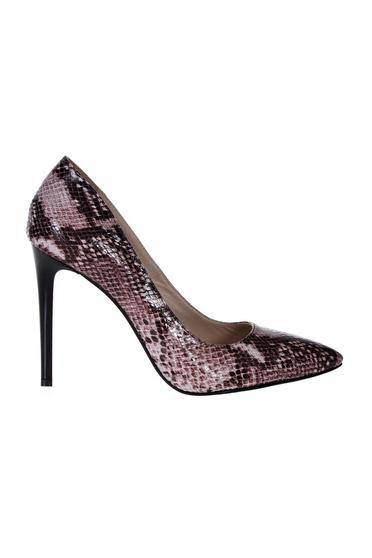 Pantofi stiletto snake print din piele naturala cu toc inalt