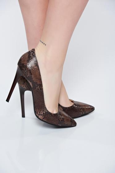 Pantofi stiletto maro din piele naturala cu toc inalt cu varful usor ascutit