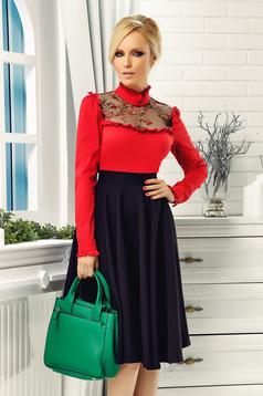 Camasa dama Fofy rosie eleganta brodata din bumbac elastic