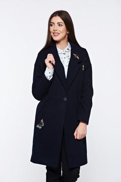 Palton Top Secret albastru-inchis drept brodat cu buzunare captusit pe interior