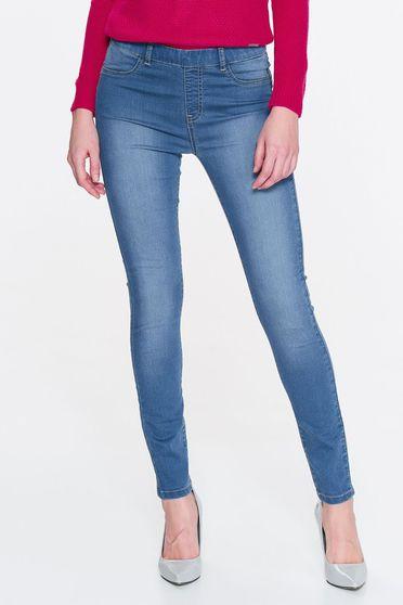 Blugi Top Secret albastri skinny din bumbac elastic cu talie medie