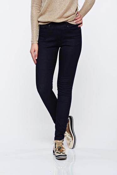 Blugi Top Secret albastri-inchis casual skinny cu talie medie cu elastic in talie