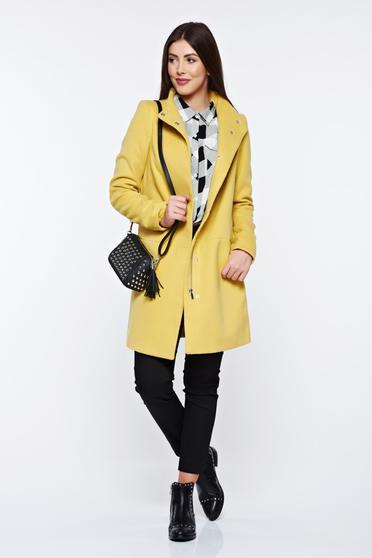 Palton Top Secret galben casual cu buzunare captusit pe interior
