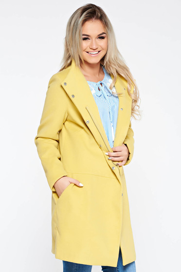 Palton Top Secret galben casual din stofa neelastica captusit pe interior cu buzunare