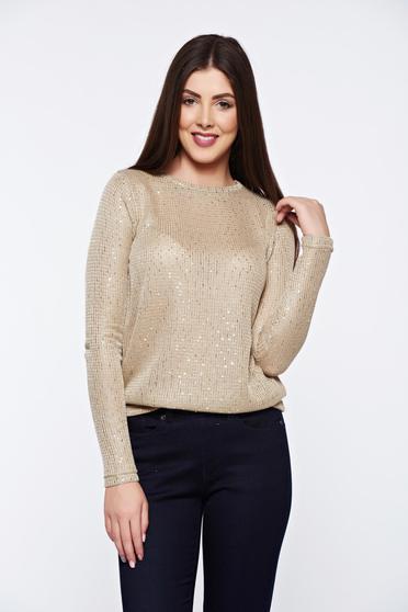 Pulover Top Secret auriu casual tricotat cu aplicatii cu paiete