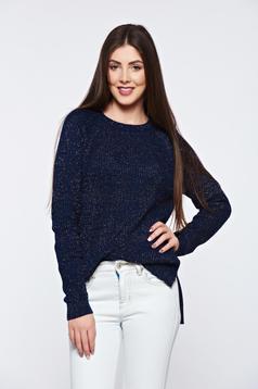 Pulover Top Secret albastru-inchis asimetric cu croi larg tricotat cu fir lame