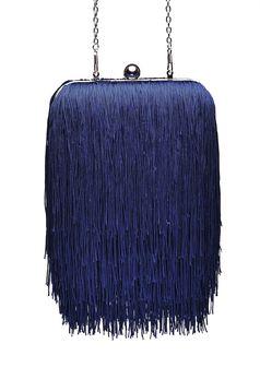 Geanta dama Top Secret albastra-inchis de ocazie cu maner lung tip lantisor cu franjuri