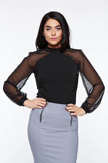 Bluza dama StarShinerS neagra eleganta din material elastic cu maneci lungi din voal