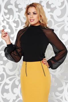 Bluza dama StarShinerS neagra eleganta din material elastic cu maneci lungi