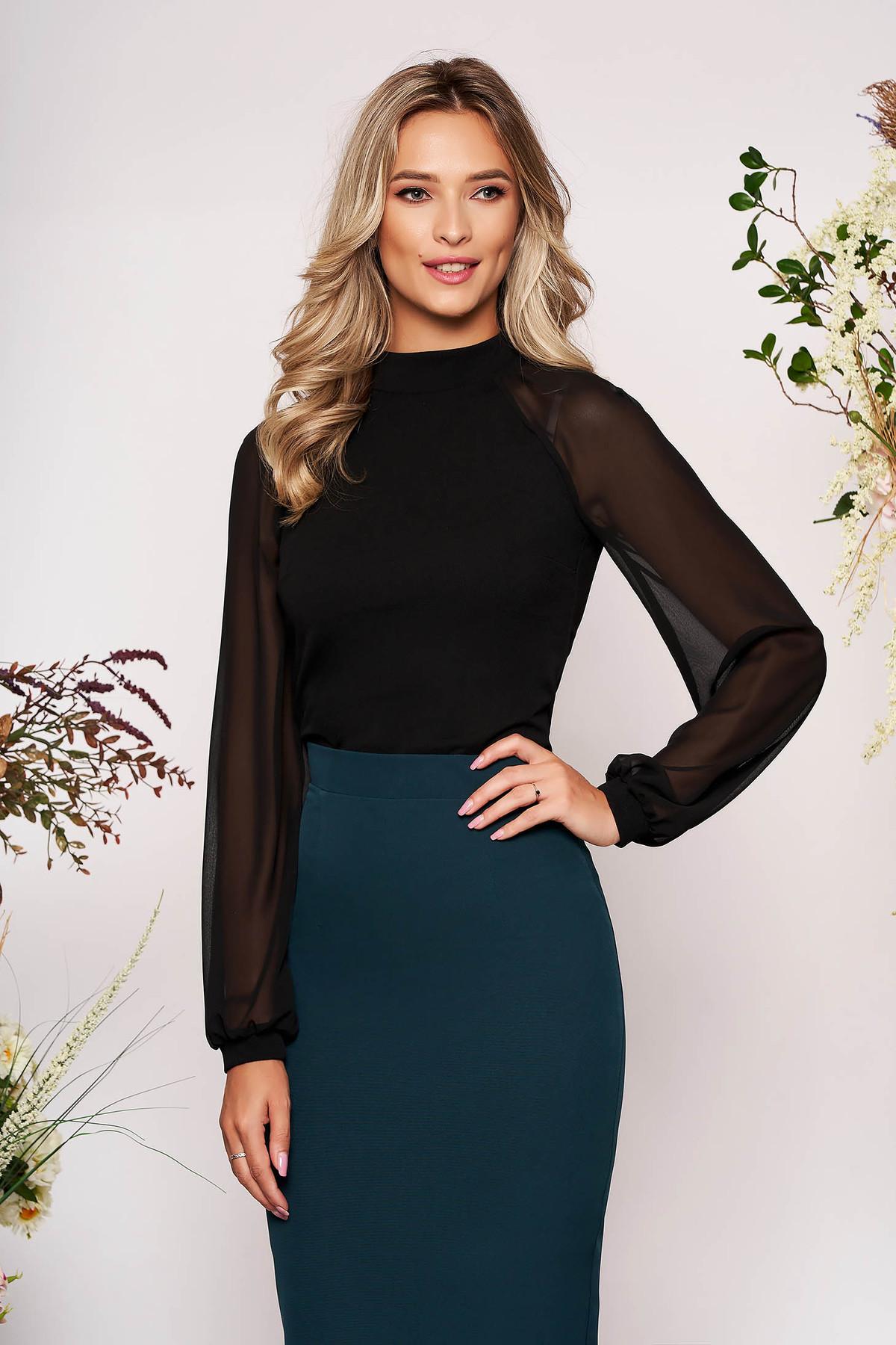 Bluza dama StarShinerS neagra eleganta din material elastic cu croi larg cu maneci lungi