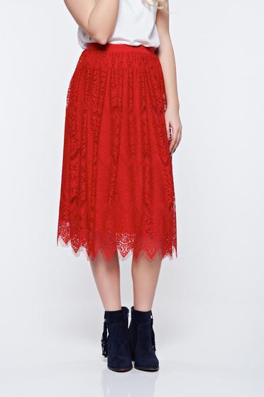 Fusta StarShinerS rosie din dantela cu elastic in talie captusita pe interior