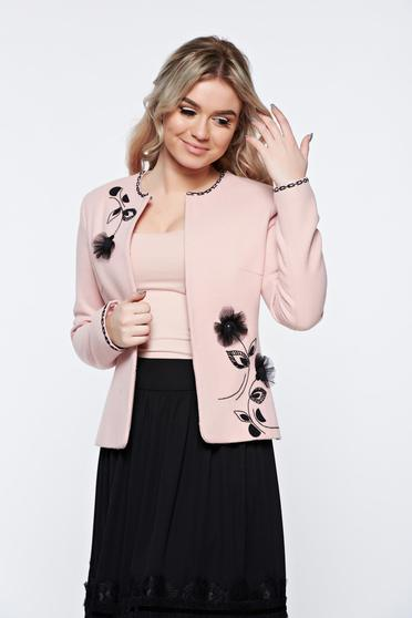 Sacou LaDonna rosa elegant din lana captusit pe interior