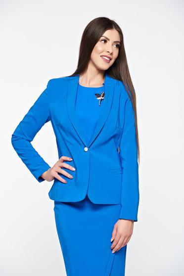 Sacou LaDonna albastru basic cambrat din material fin la atingere captusit pe interior