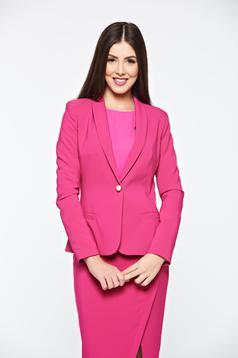 Sacou LaDonna roz basic cambrat din material fin la atingere captusit pe interior
