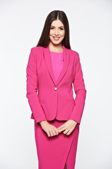 Sacou LaDonna roz basic cambrat captusit pe interior