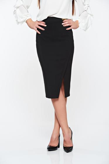 Fusta LaDonna neagra office din stofa subtire usor elastica captusita pe interior
