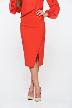 Fusta LaDonna rosie office din stofa subtire usor elastica captusita pe interior