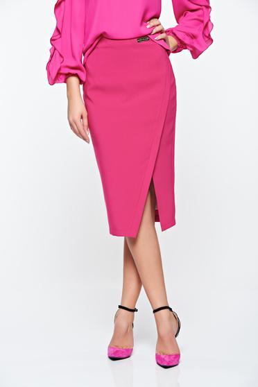 poze cu Fusta LaDonna roz office din stofa subtire usor elastica captusita pe interior